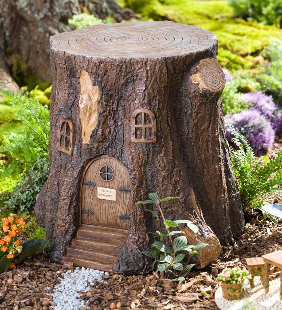 Whimsical Fairy Garden Tree Stump Stool Plowhearth
