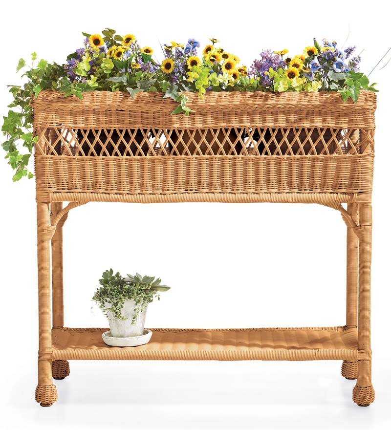 Easy Care Resin Wicker Rectangular Planter swatch image