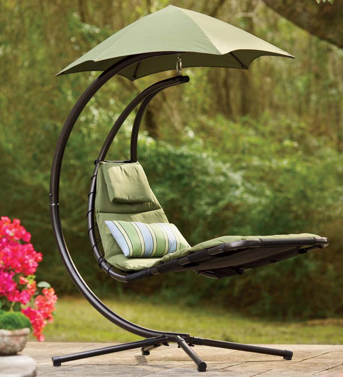 Dream Chair Suspended Lounge Chair With Umbrella Blue