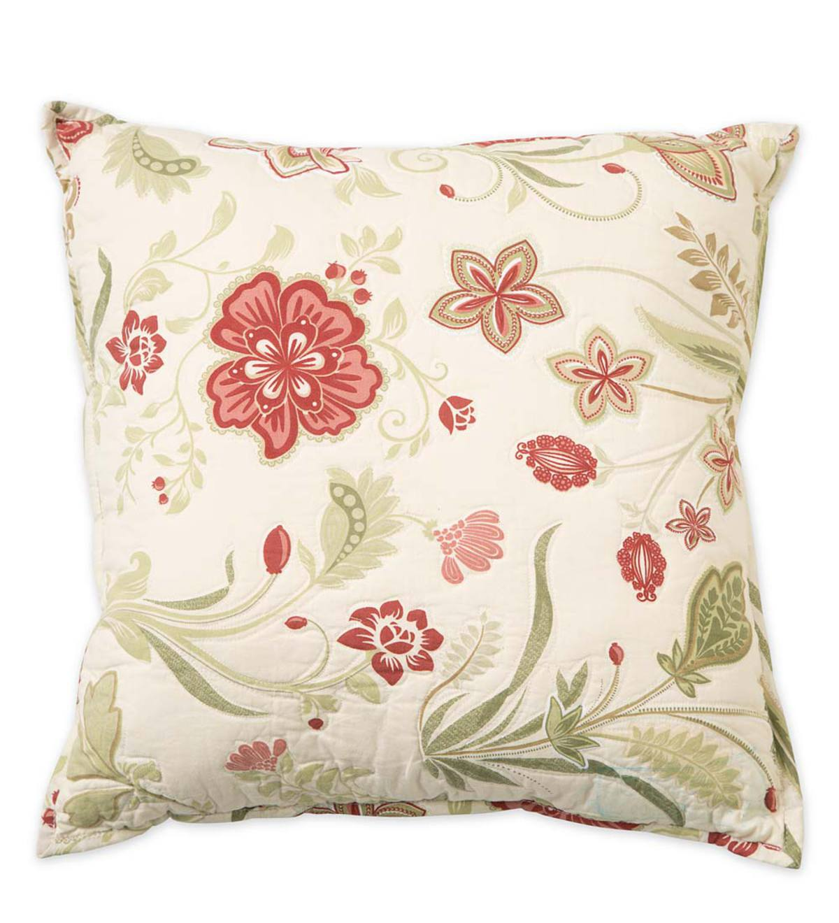 "Jacobean Vine Quilted Throw Pillow, 16""sq."