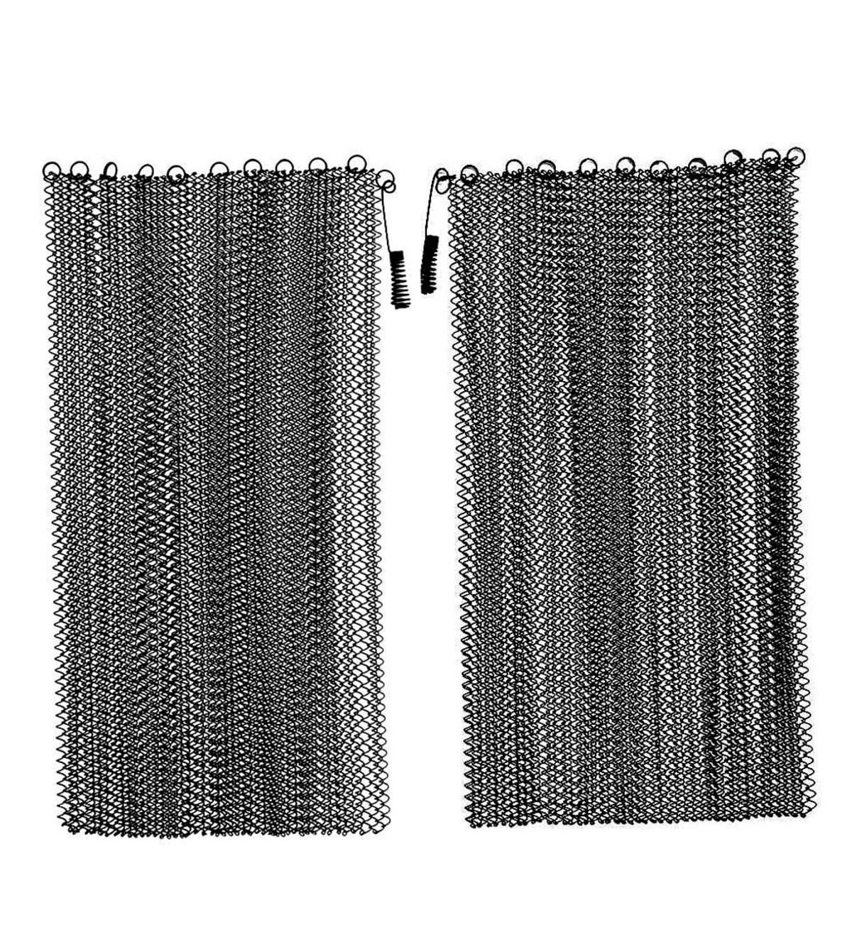 "Black Mesh Curtain Fireplace Screen Curtain Pair, 26""H x 48""W"