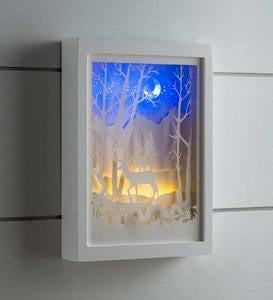 Lighted Woodland Silhouette Box Wall Art