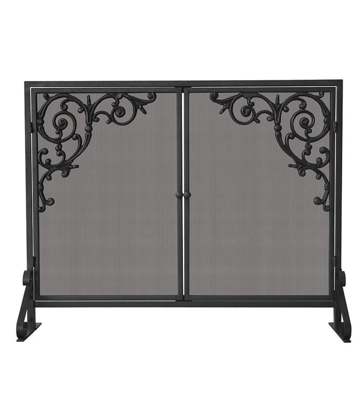 Olde World Single Panel Fireplace Screen with Doors and Cast Scrolls - Iron