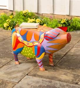 Colorful Folk Art Pig Side Table