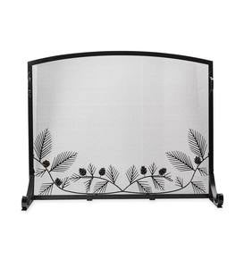 Pine Cone Flat Guard Fireplace Screen, Small