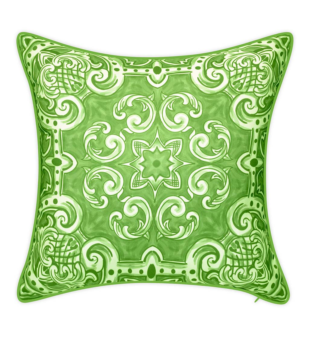 Indoor/Outdoor Block-Style Printed Tile Throw Pillow swatch image