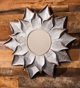 Galvanized Metal Flower Wall Mirror