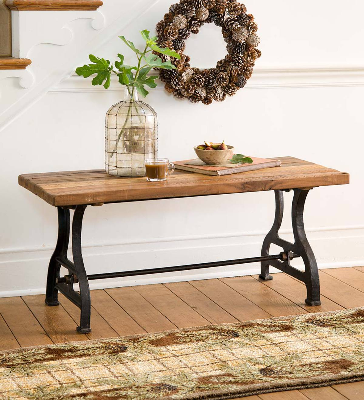 Plow And Hearth Furniture: Birmingham Indoor/Outdoor Reclaimed Wood Bench With Iron