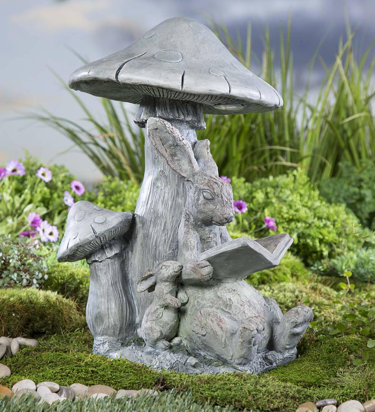 Solar Reading Bunny Garden Statue Plowhearth