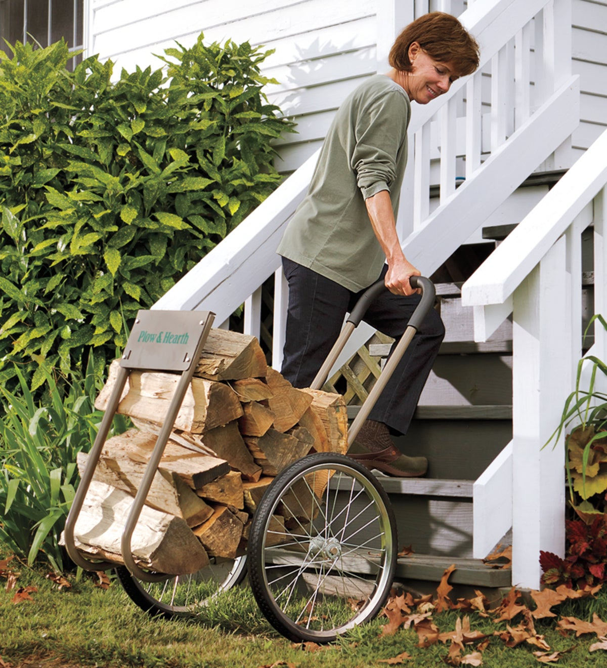 Rolling Wood Caddy, Heavy-Duty Steel with Large Wheels