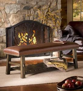 Canyon Brown Leather Bench