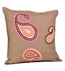Washed Burlap Accent Pillow With Cotton Paisley Appliqué