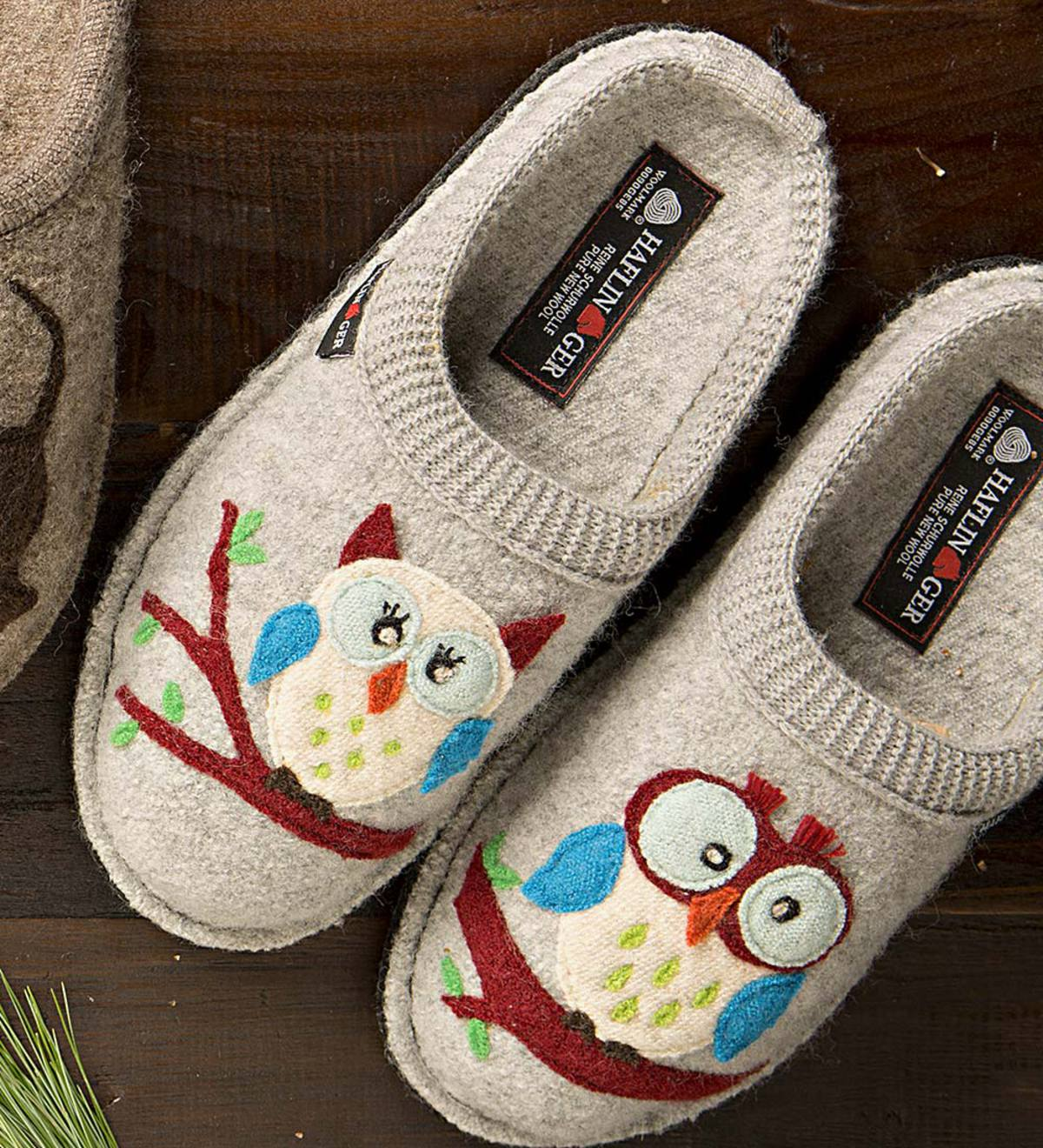Women's Wool Owl Slippers with Non-Slip Soles - Size=Size 42