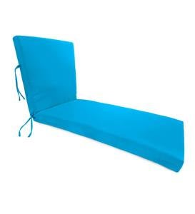 "Sunbrella® Classic Chaise Cushion with Ties, 65"" x 23"" x 4"" hinged 46"" from bottom"