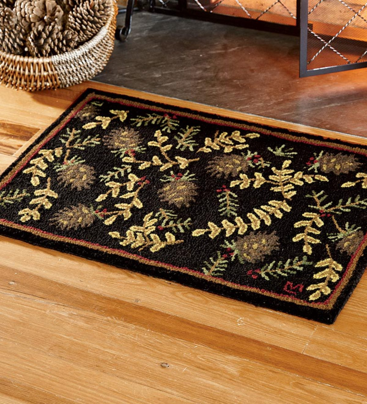 2' x 3' Hand-Hooked Fire-Resistant Willows And Cones Wool Rug