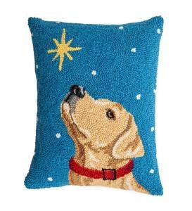 Hooked Wool Yellow Labrador with Star Holiday Throw Pillow