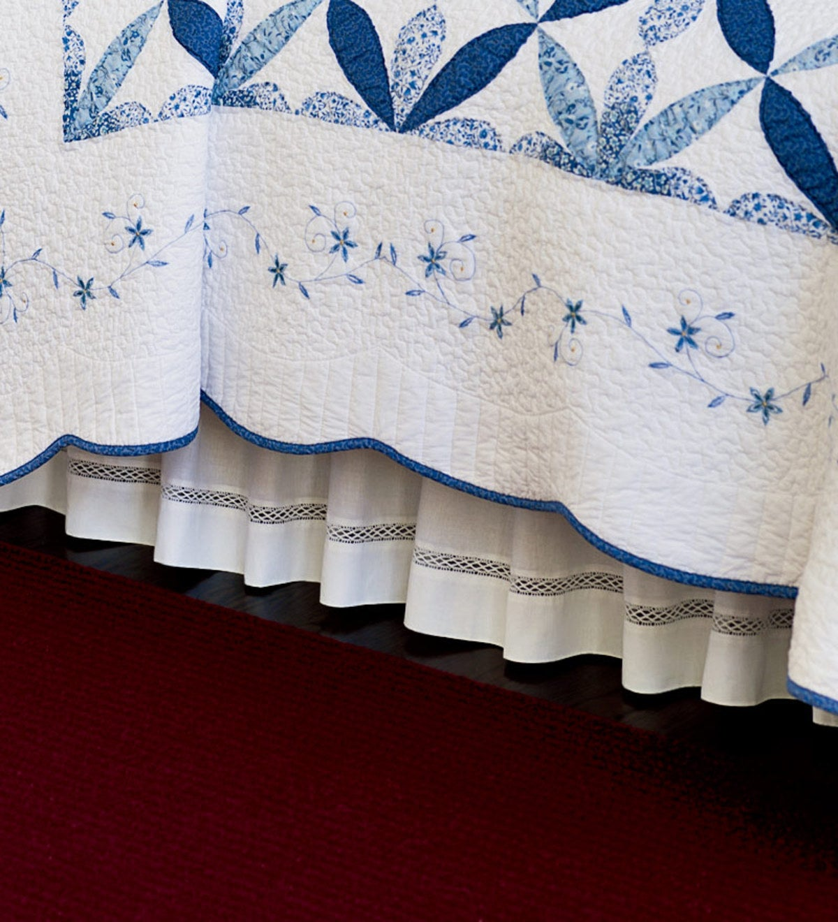 "14""Drop King Cotton Lattice Lace Bed Skirt - WHITE"