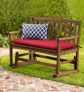 Eucalyptus Wood Love Seat Glider, Lancaster Outdoor Furniture Collection - Natural
