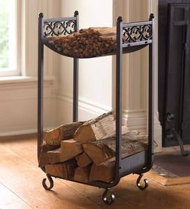 Compact Log Rack, Cast Iron with Scrollwork Design