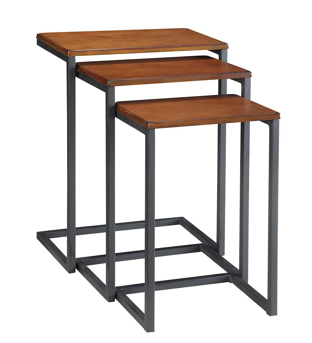 3-Piece Industrial Style Rectangular Metal and Wood Nesting Tables swatch image