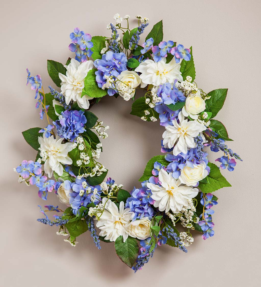 Blue Hydrangea and White Roses Floral Wreath