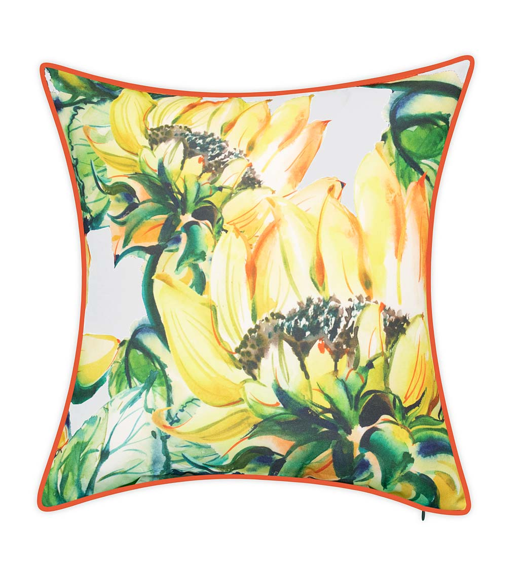 Indoor Outdoor Oversized Watercolor Sunflower Throw Pillow Plowhearth