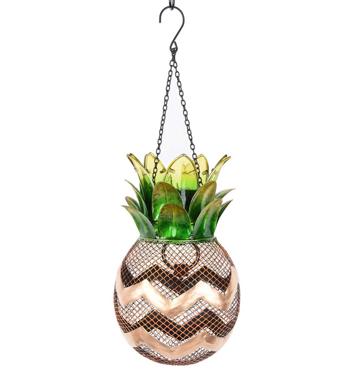 Solar Pineapple Metal Bird Feeder
