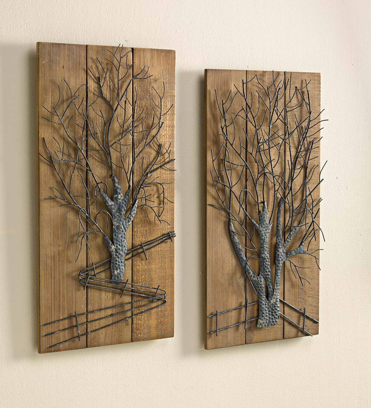 Metal Tree On Wooden Wall Art Set Of 2