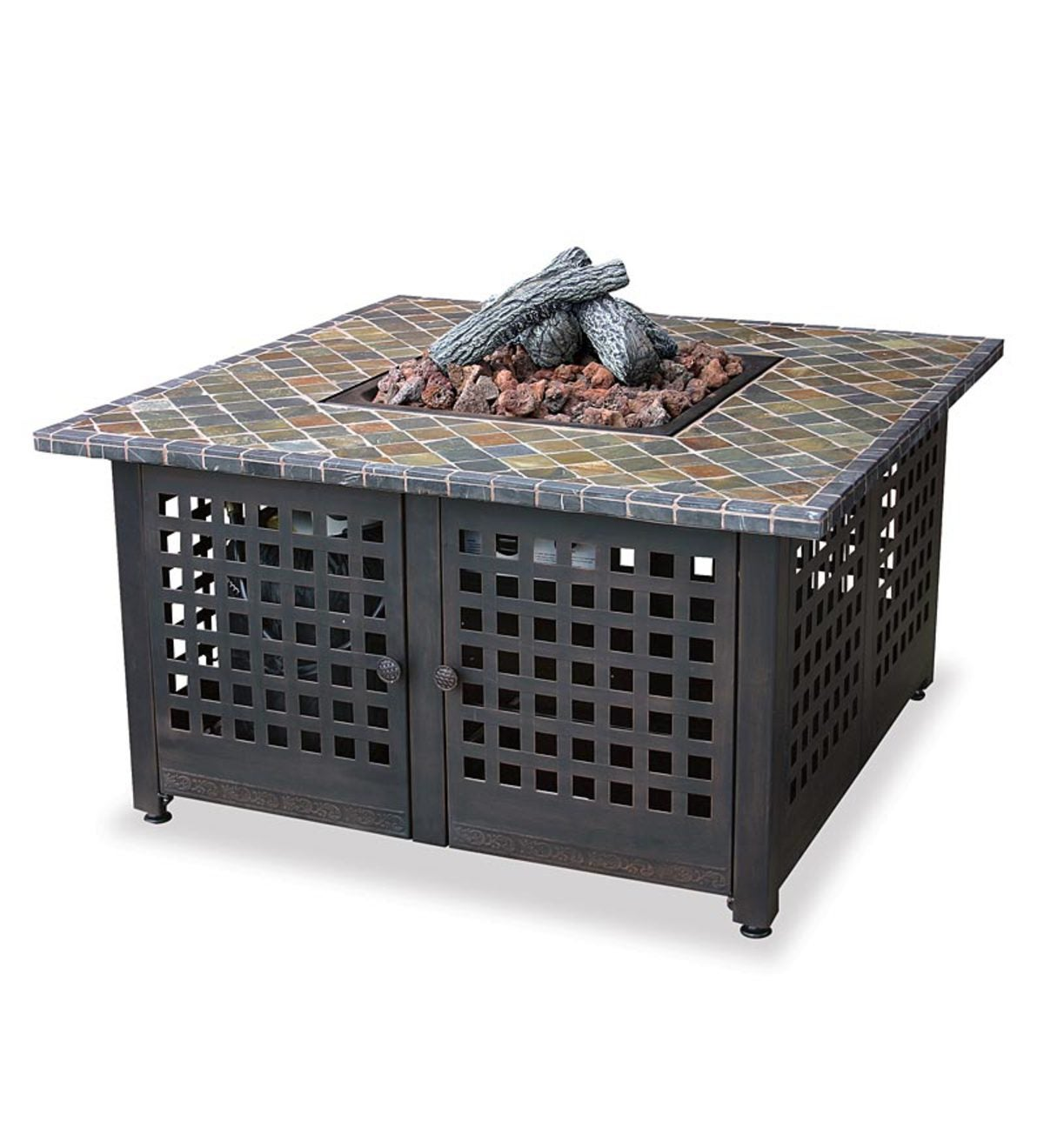 Easy-Start Gas Outdoor Fire Bowl With Slate And Marble Mantel