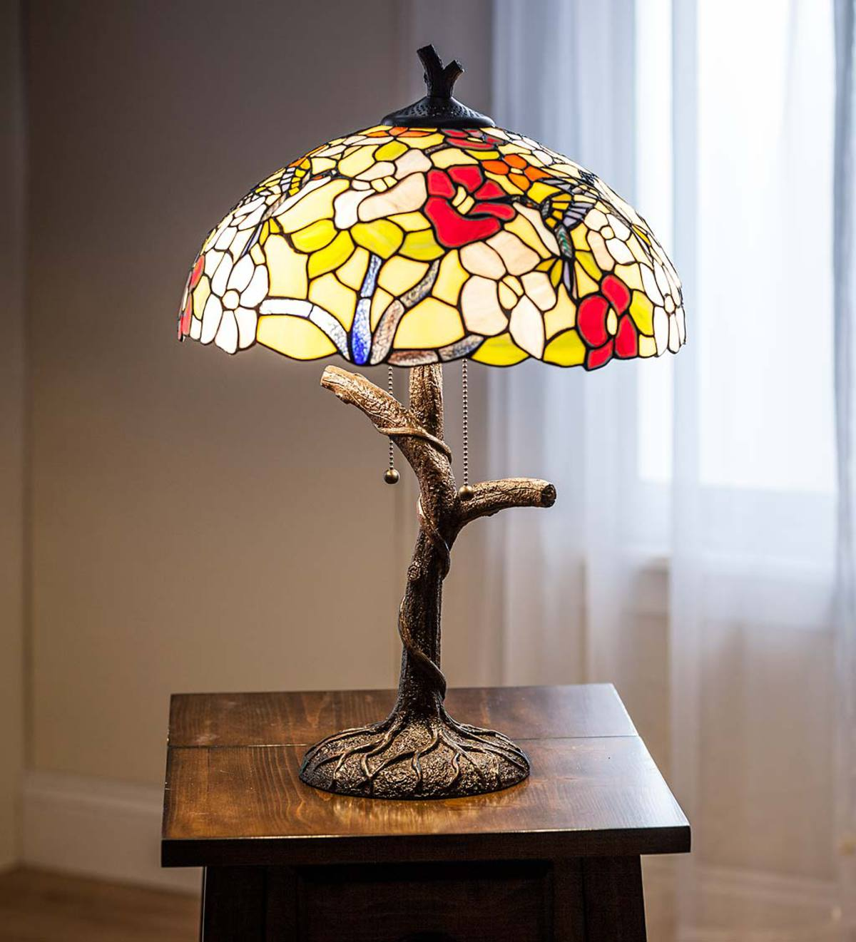 Hummingbird Tiffany Stained Glass Table Lamp