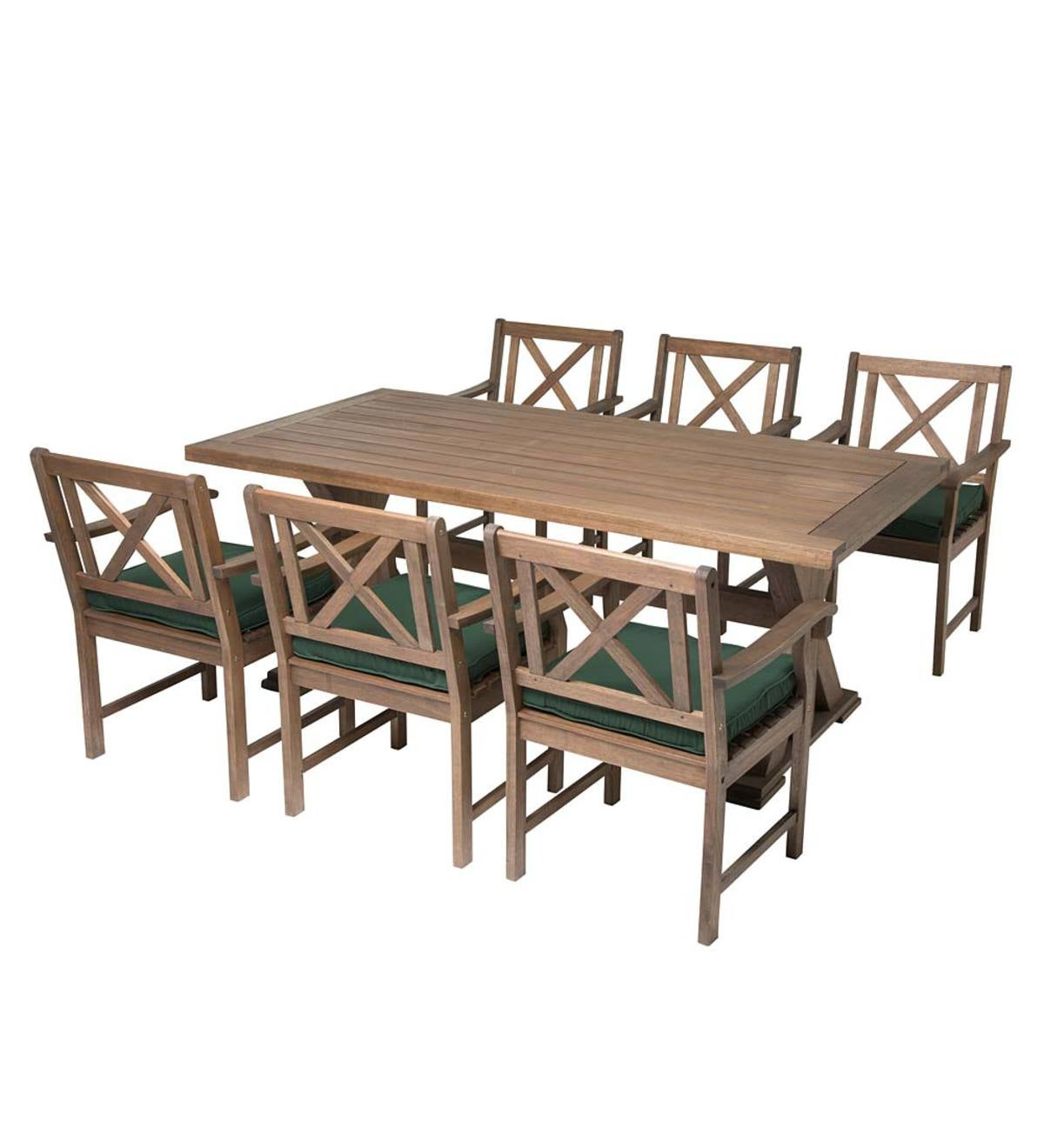 Claremont outdoor dining furniture eucalyptus table and six chairs natural