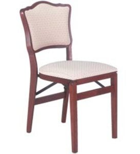 Upholstered Back Folding Chair, set of 2 - OAK FINISH - Style=CORTEX FLAX