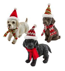 Holiday Labrador Puppy Statues with Hats and Scarves, Set of 3