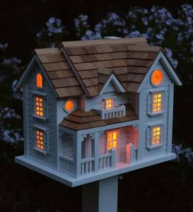 Kingsgate Cottage Lighted Birdhouse and Pedestal Pole Set