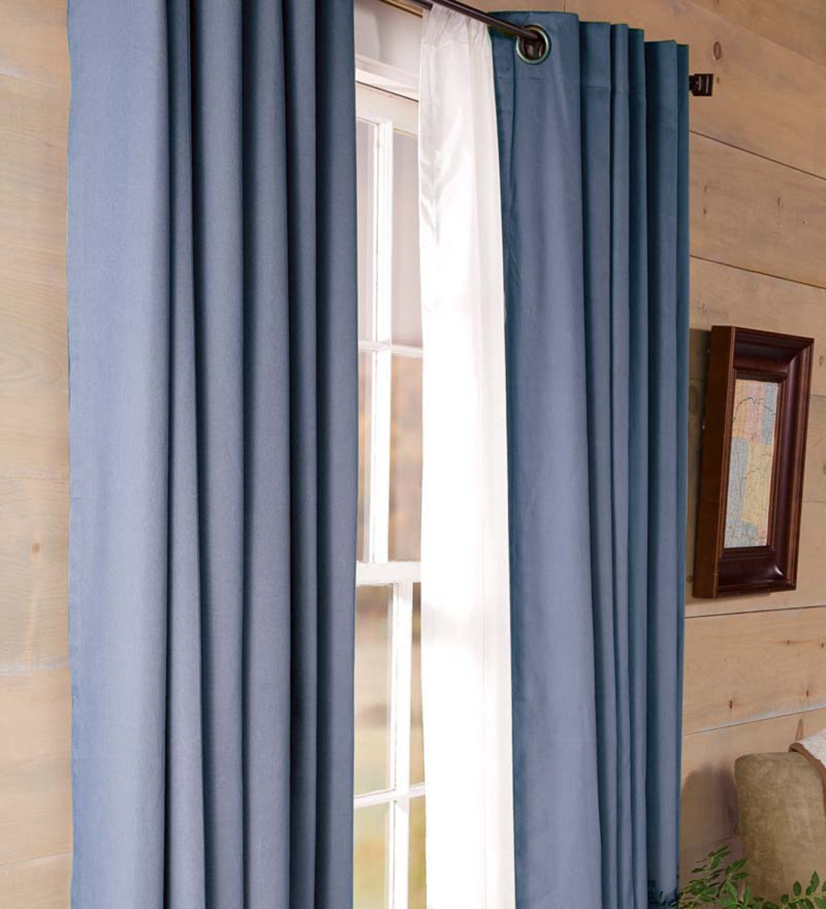 ThermalogicTM Energy Efficient Insulated Solid Blue Grommet Top Curtains