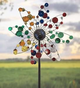 Solar Confetti Wind Spinner with LED Lights