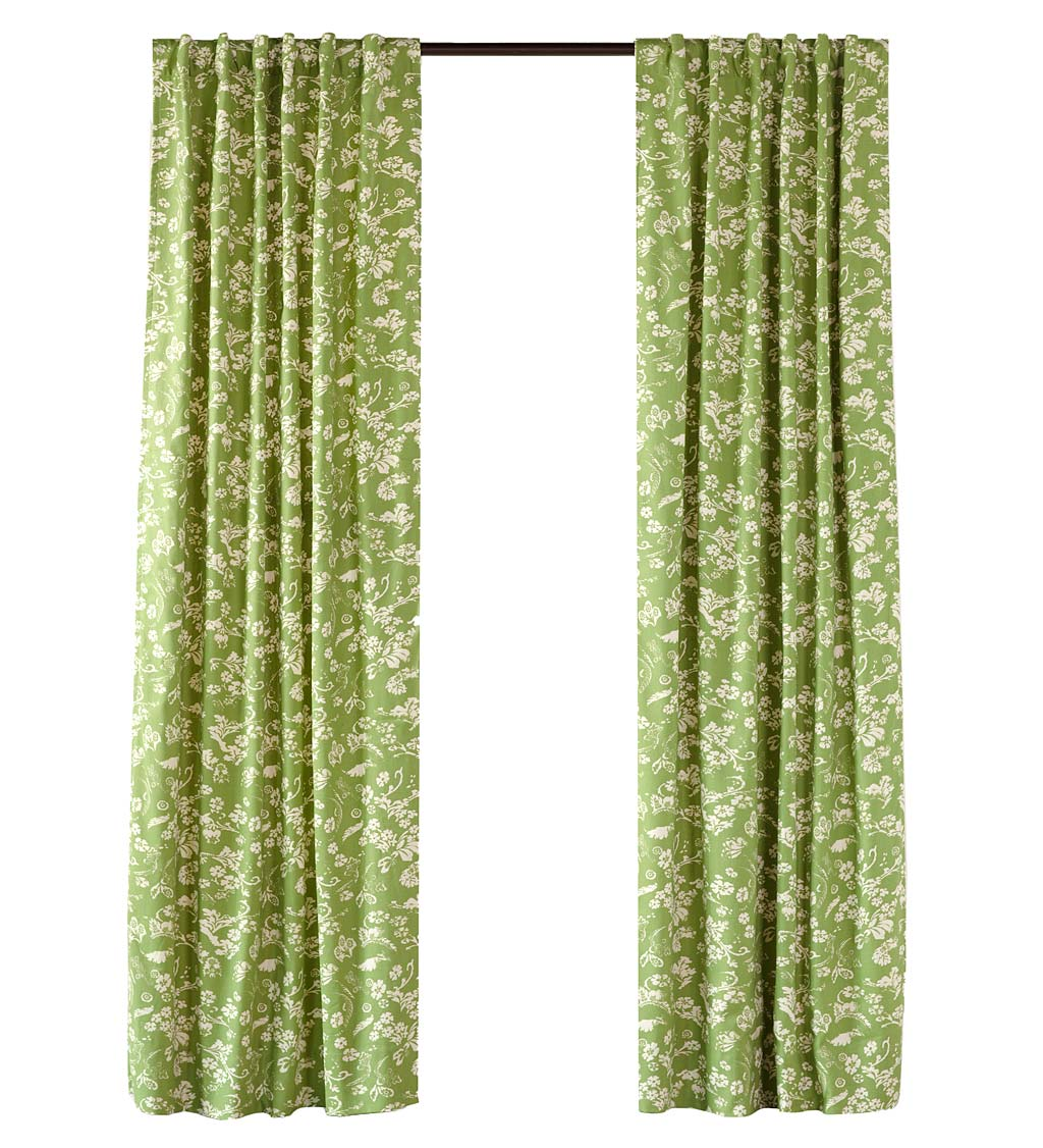 "Floral Damask Rod-Pocket Homespun Insulated Curtain Panel, 42""W x 72""L"