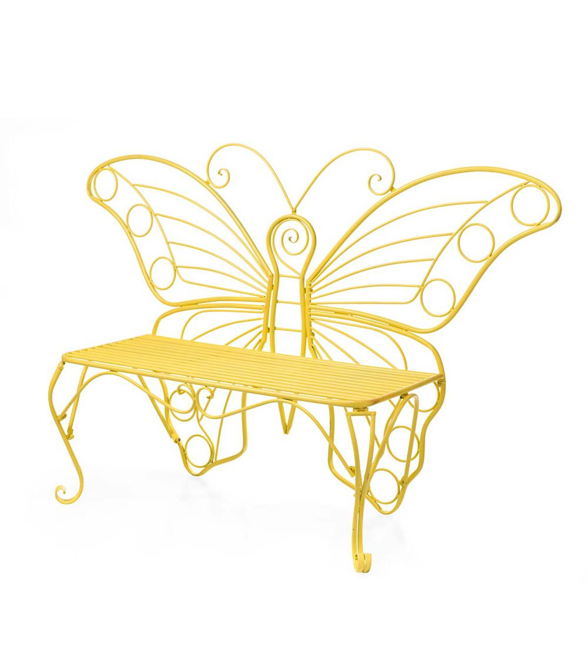 Yellow Metal Butterfly Garden Bench - Yellow