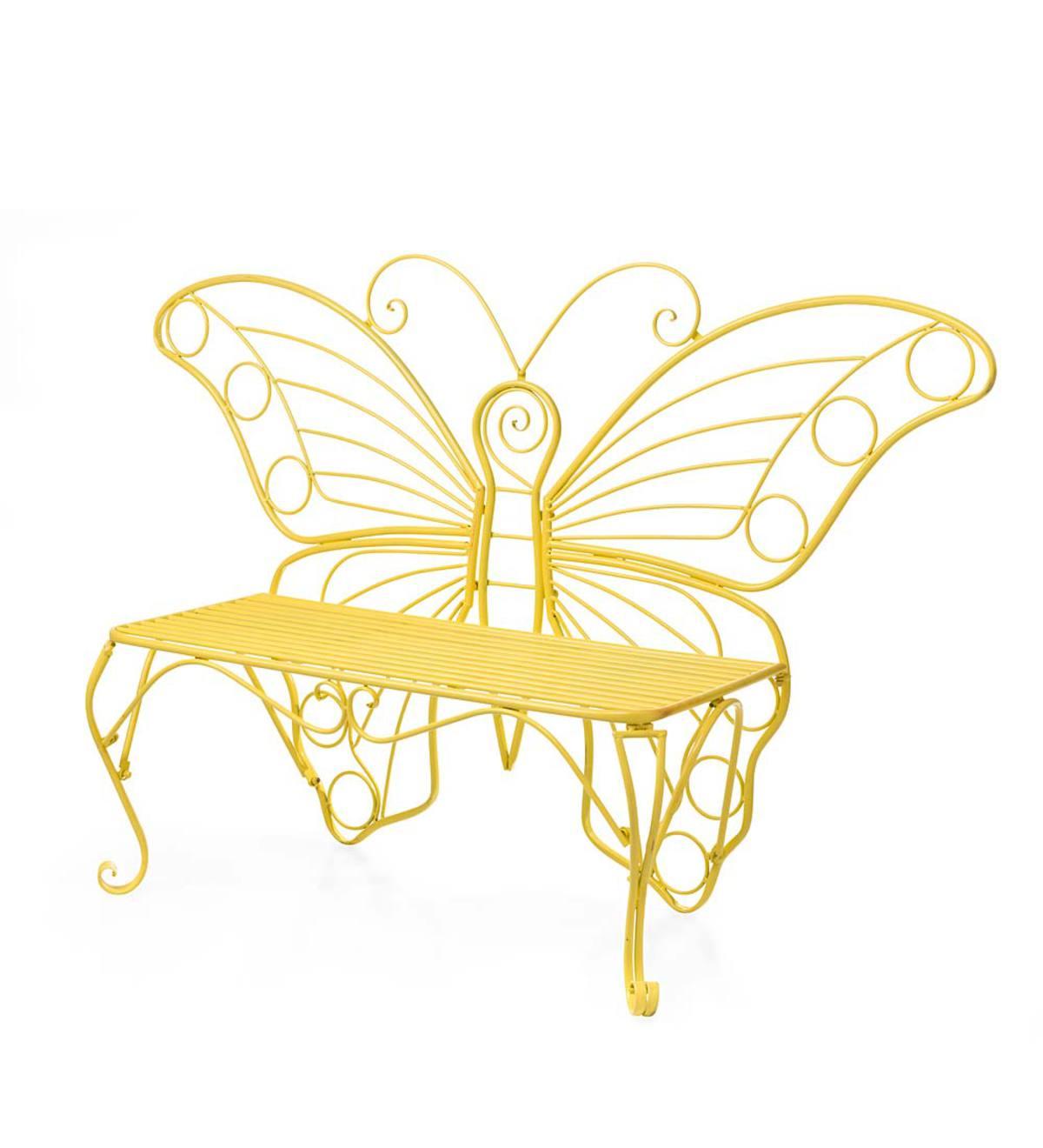 Yellow Metal Butterfly Garden Bench | Outdoor Furniture | Outdoor ...