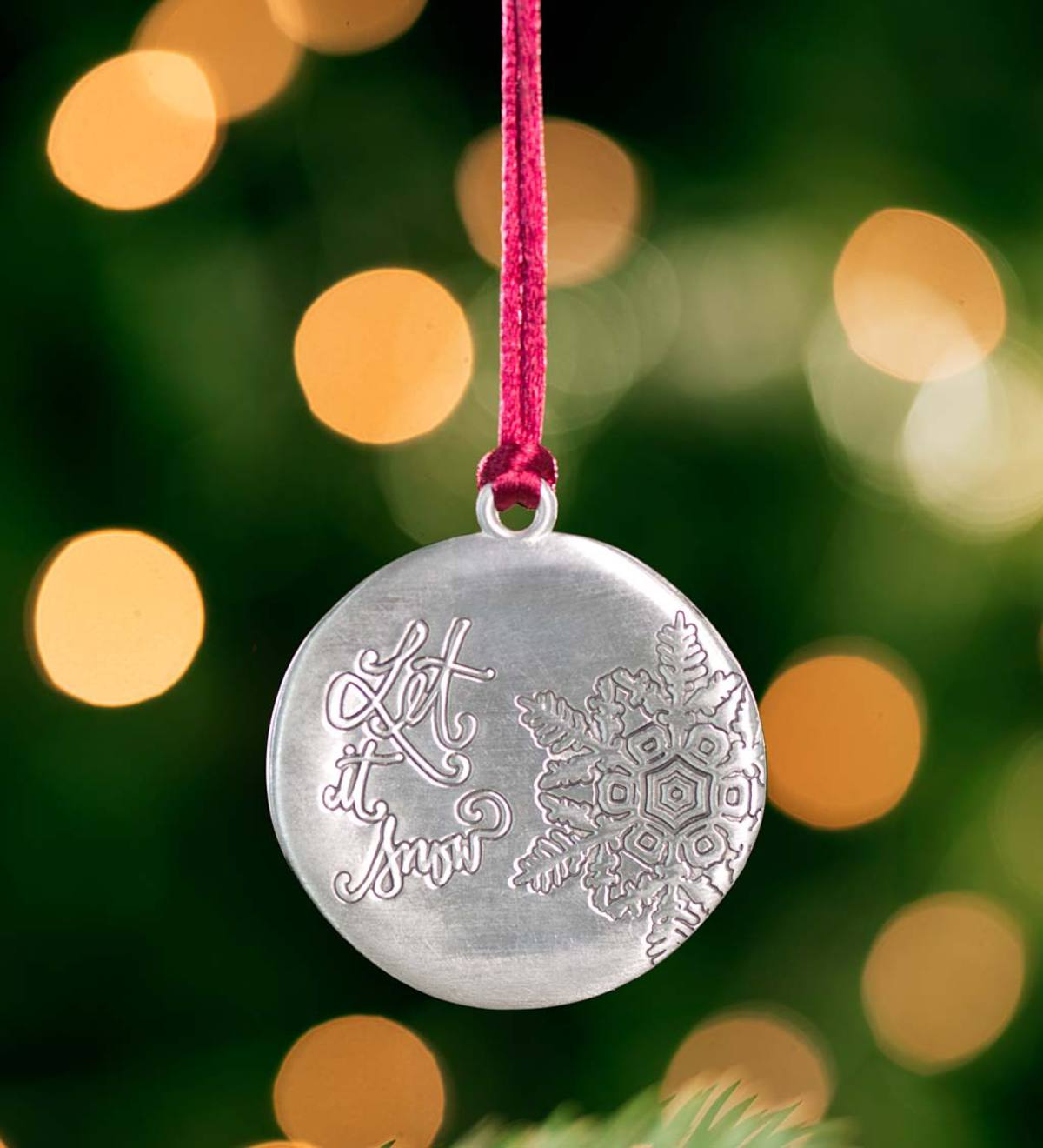 Let it Snow Solid Pewter Christmas Tree Ornament
