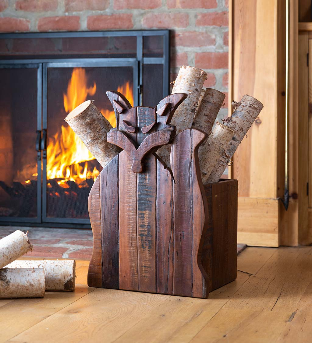 Reclaimed Wood Fox-Shaped Firewood Holder