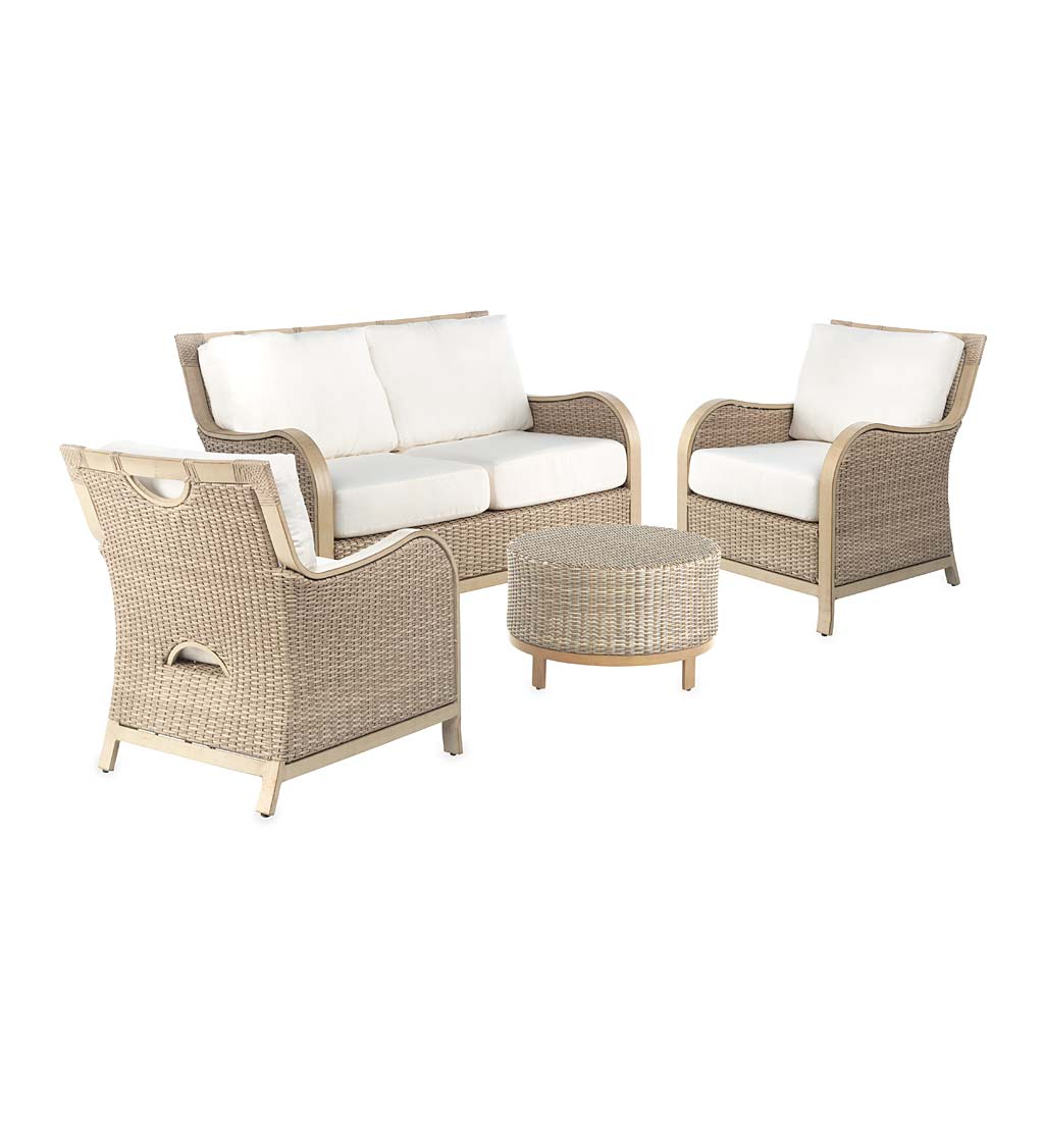 Driftwood Urbanna Premium Wicker Four Piece Set with Cushions