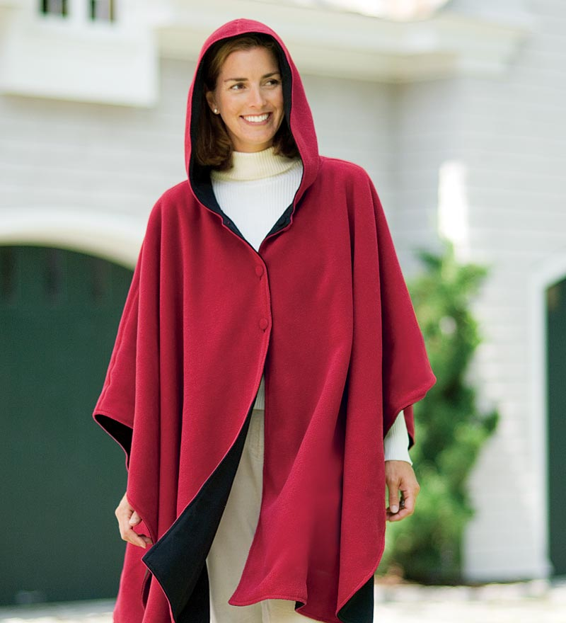 Water-Repellent Reversible Fleece And Nylon Microfiber Cape With Hood