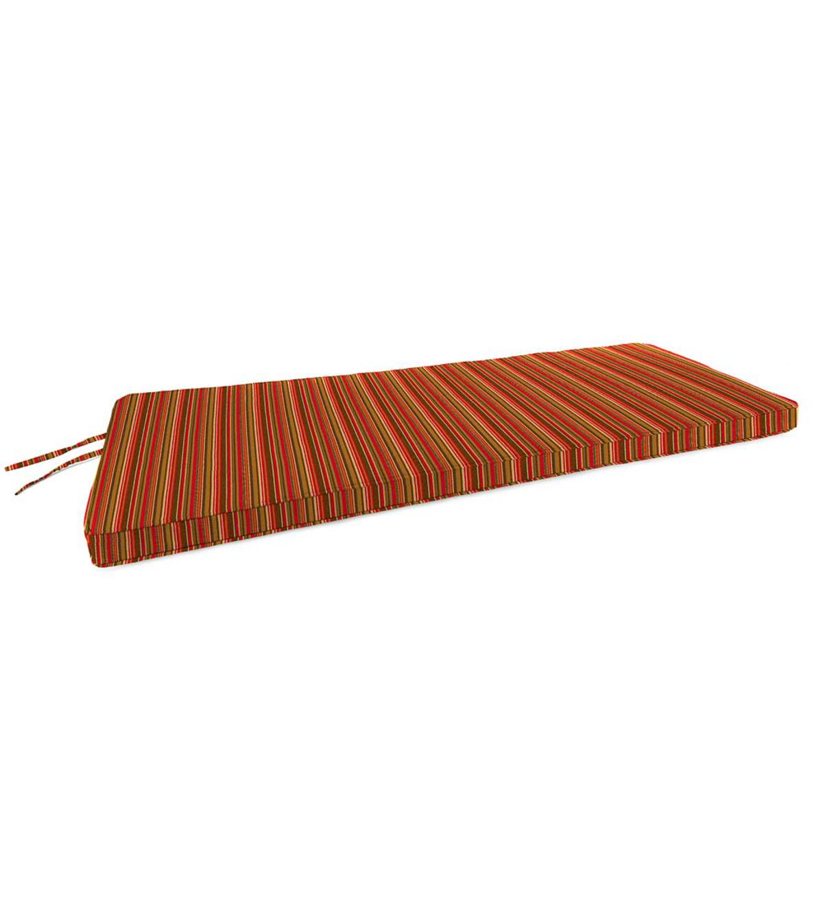 "Deluxe Sunbrella Swing/Bench Cushion with ties 44"" x 18"" x 3"" - Cherry Stripe"