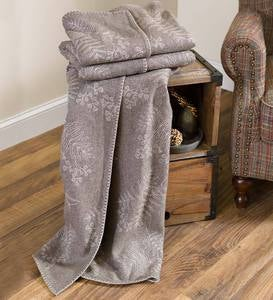 Oversized Embroidered Forest Floor Wool Throw