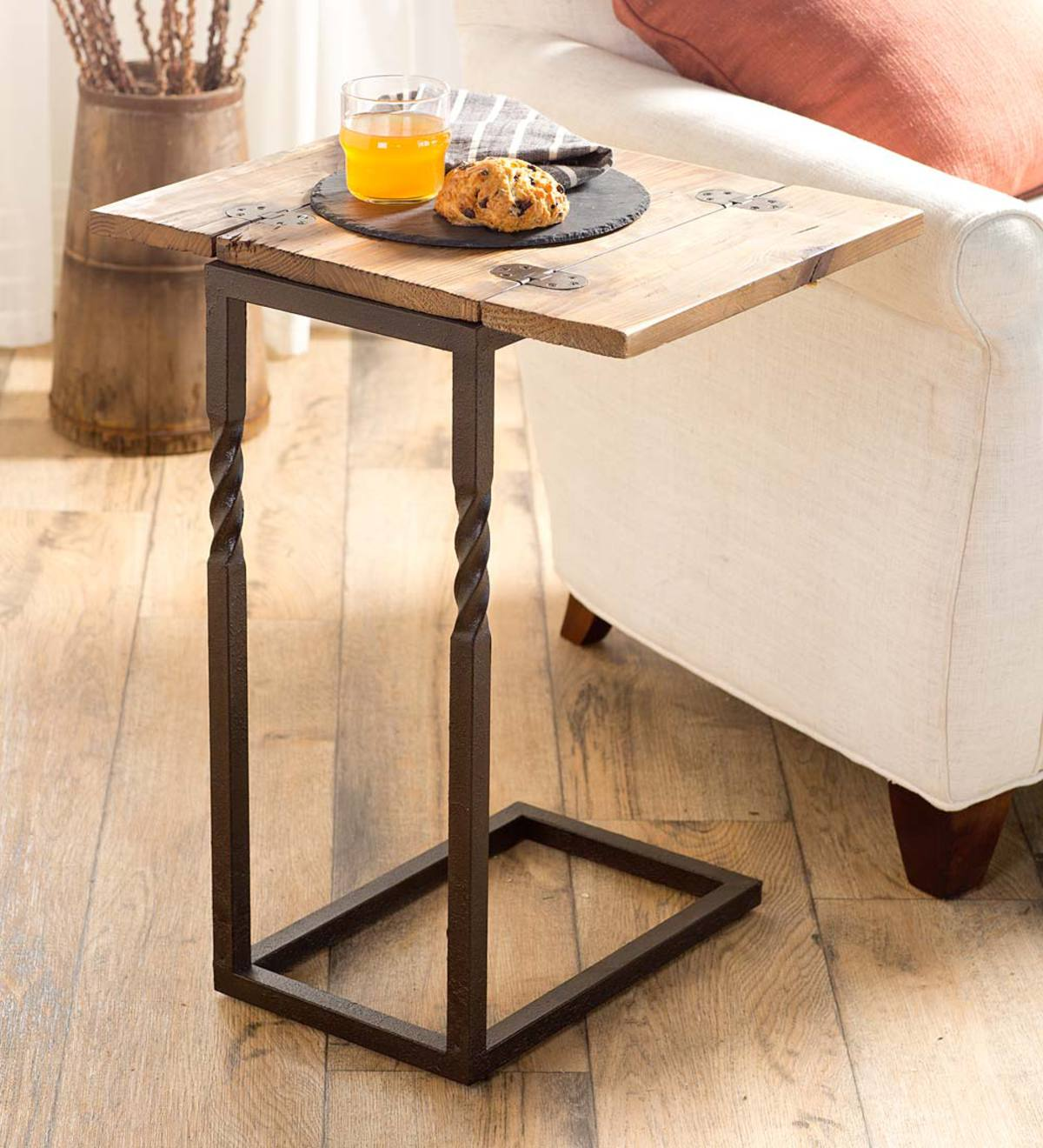 Deep Creek Pull-Up Table in Rustic Wood and Metal