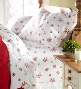 Crystal Snowflake Cotton Flannel Sheet Set