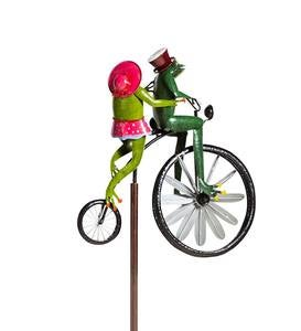 Handmade Bicycling Frogs Metal Wind Spinner