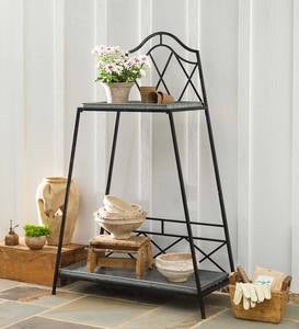 Two-Tier Metal Plant Stand with Removable Zinc Trays