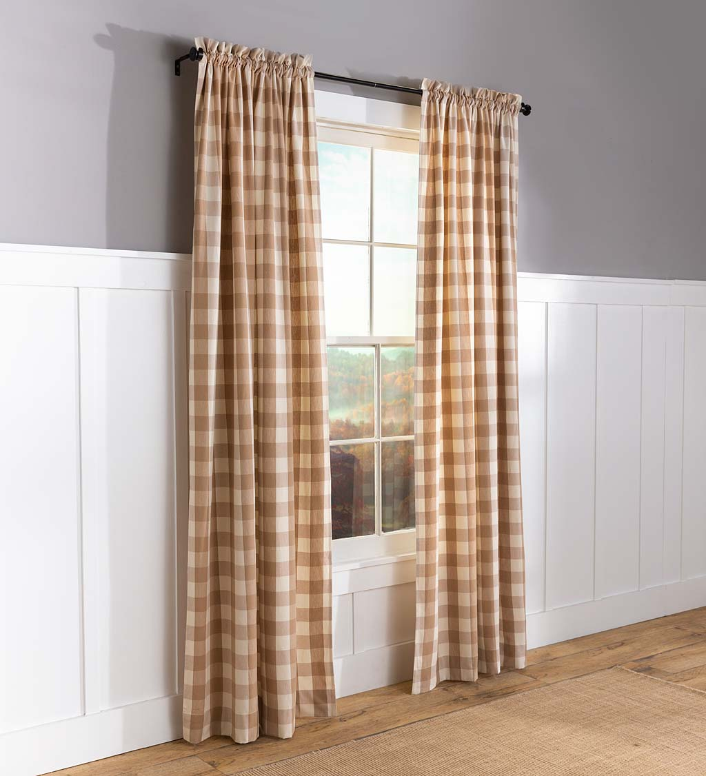 "Buffalo Check Rod-Pocket Cotton Curtains, 72""L Pair"